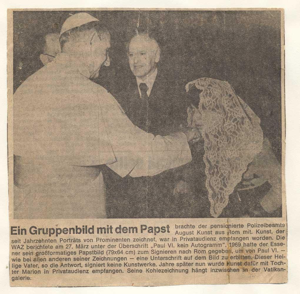 Pressebericht über die Audienz von August Kunst und Tochter Marion beim Papst