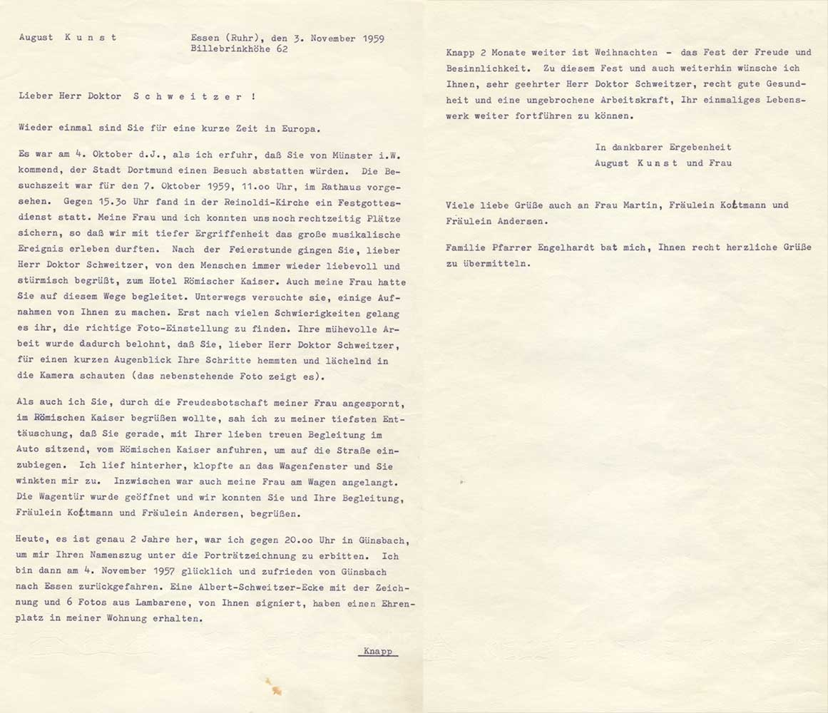 Brief an Albert Schweitzer - 1959