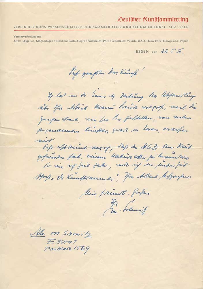 Schreiben des Deutschen Kunstsammlerrings 1955