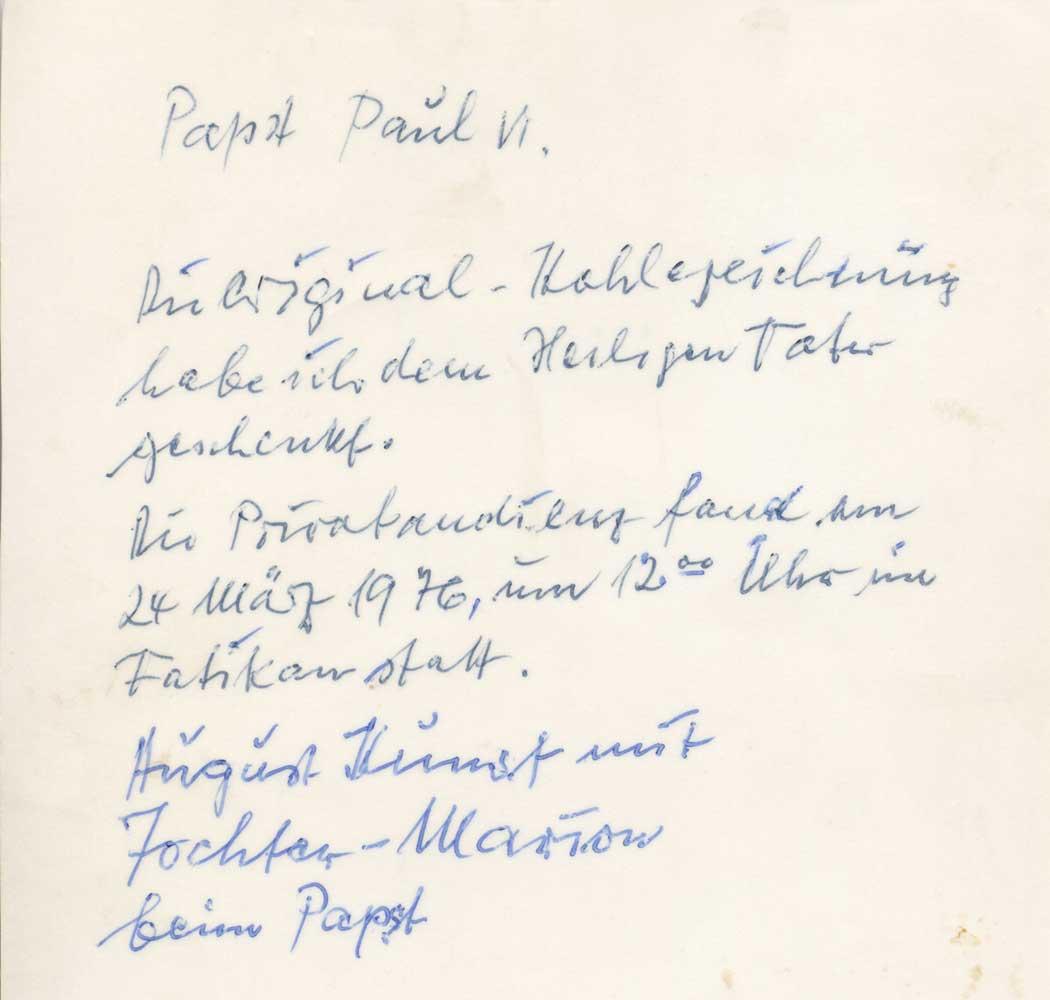 Persönliche Notiz auf der Rückseite eines Fotos der Privataudienz beim Papst