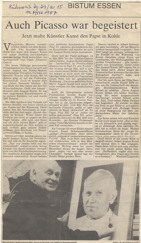 Pressebericht zum Porträt von Papst Paul Johannes II
