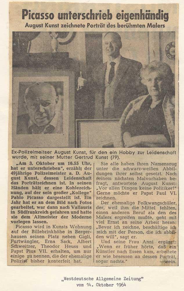 Bericht über Pablo Picassos Signierung des Porträts von ihm
