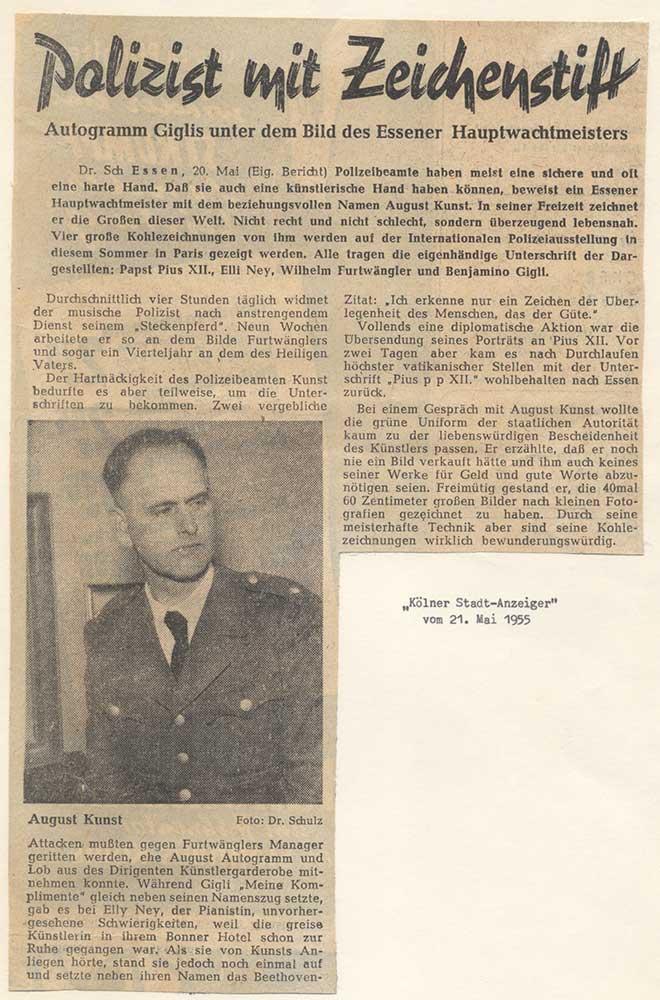 Pressebericht Pressebericht über August Kunst, 1955