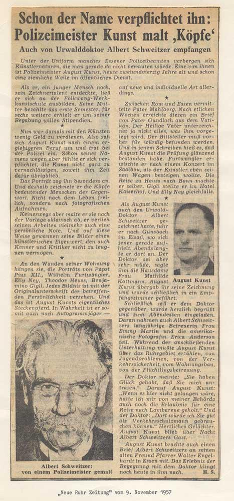 Pressebericht Pressebericht über August Kunst, 1957