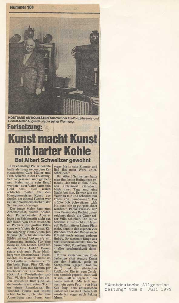 Pressebericht über August Kunst, 1979
