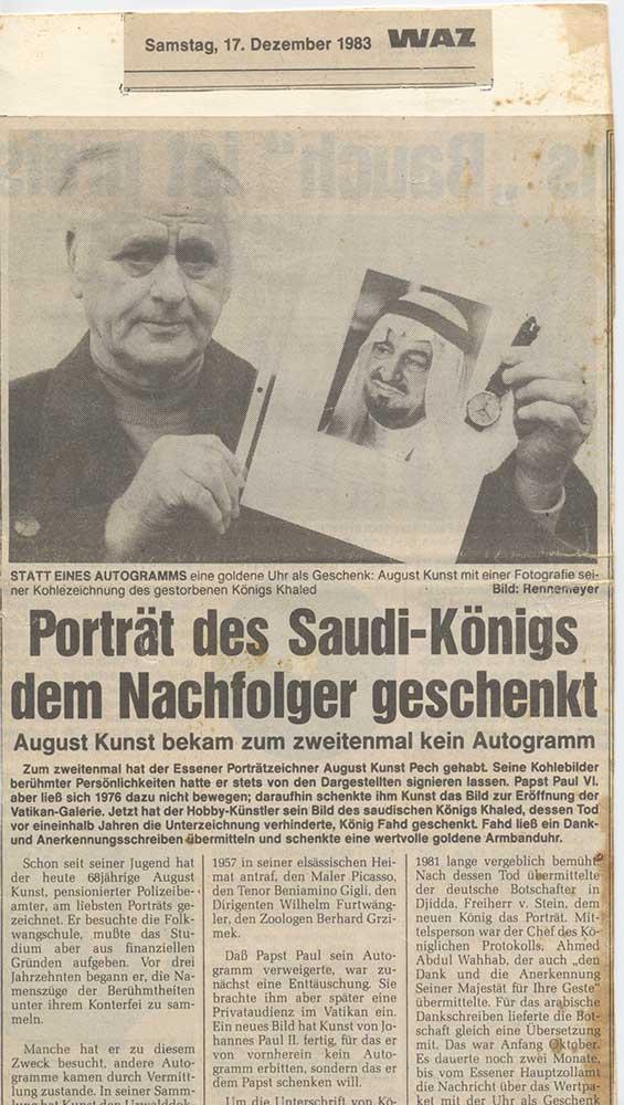 Pressebericht über das Porträt von König Khalid