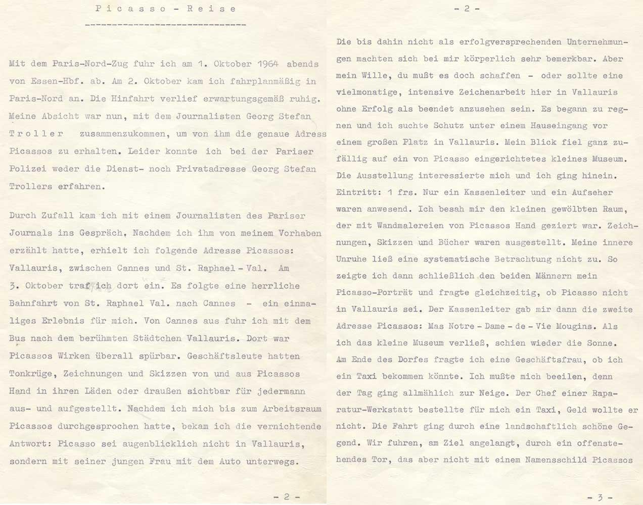 Aufzeichnungen von August Kunst über die Reise zu Pablo Picasso - Teil I
