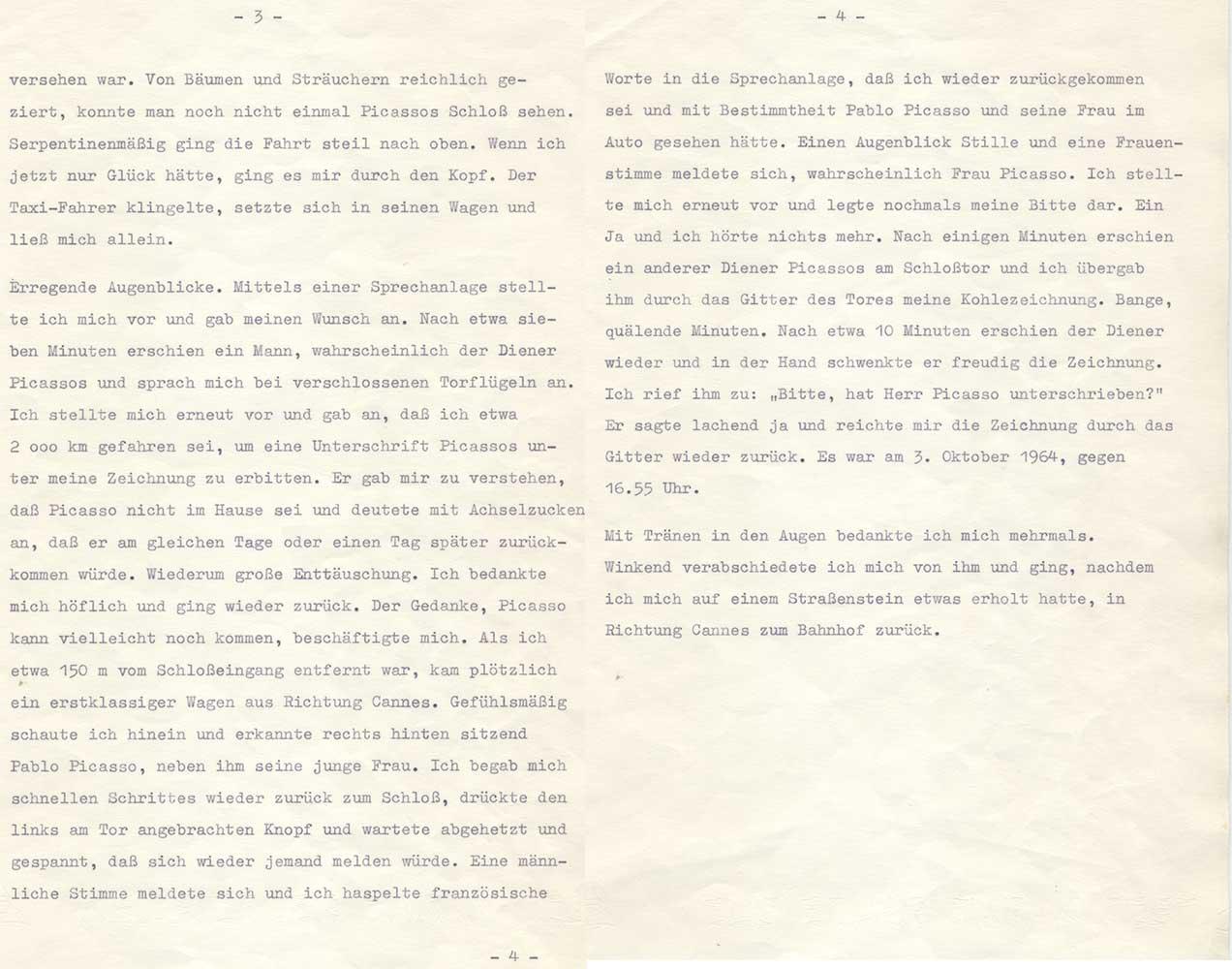 Aufzeichnungen von August Kunst über die Reise zu Pablo Picasso - Teil II