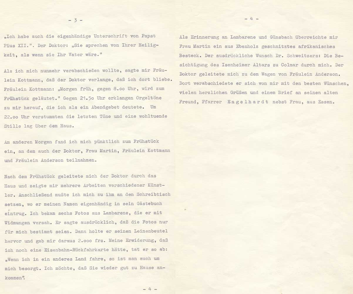 Aufzeichnungen von August Kunst über die Reise zu Albert Schweitzer - Teil II