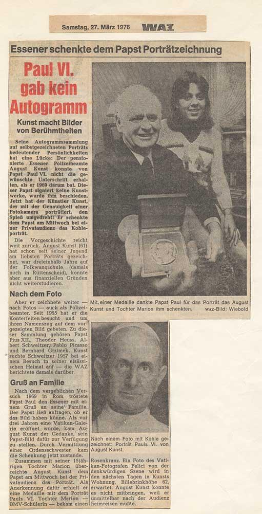 Pressebericht zur Schenkung des Porträts an Papst Paul VI