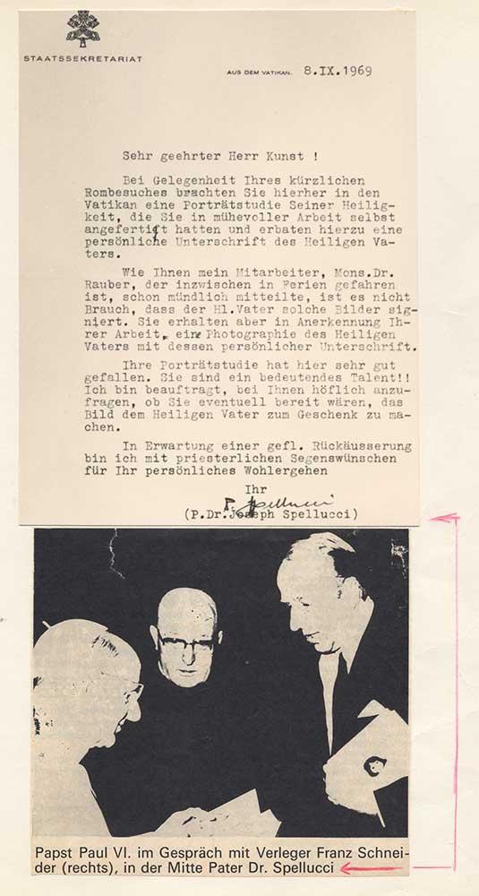 Schreiben vom Vatikan 1969