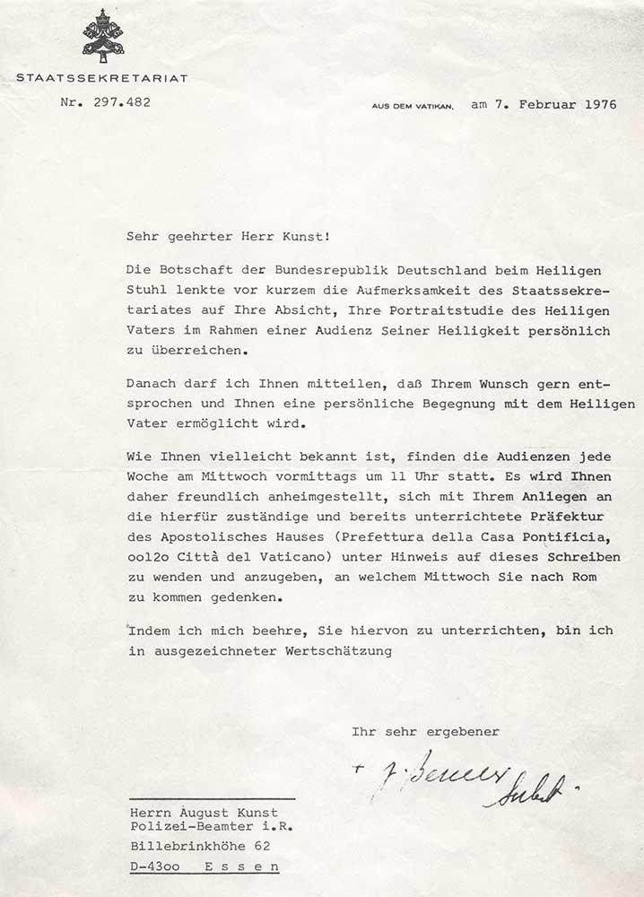 Schreiben vom Vatikan 1976