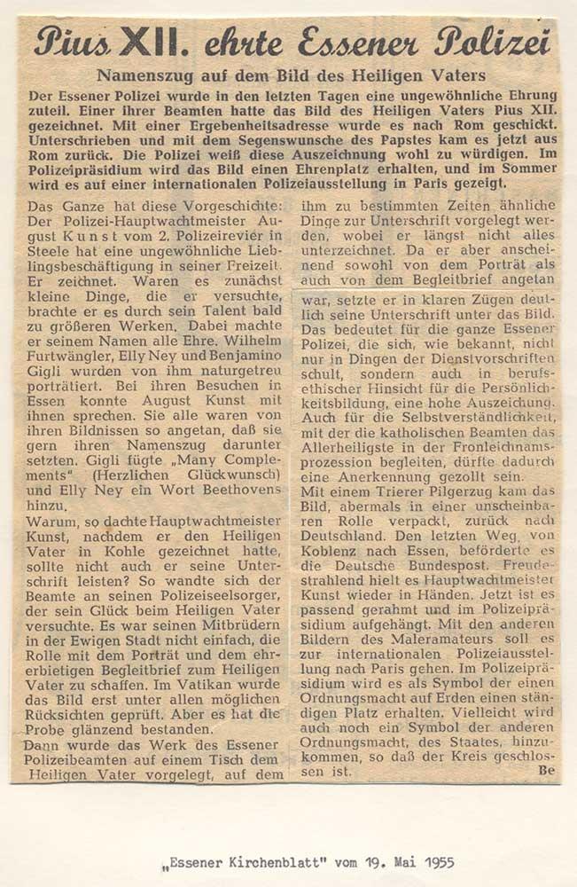 Pressebericht über den Segen für August Kunst von Papst Pius XII