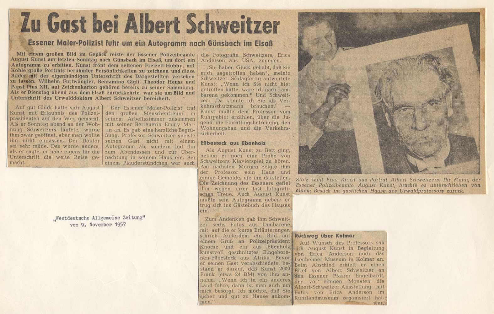 Pressebericht über den Aufenthalt von August Kunst bei Albert Schweitzer
