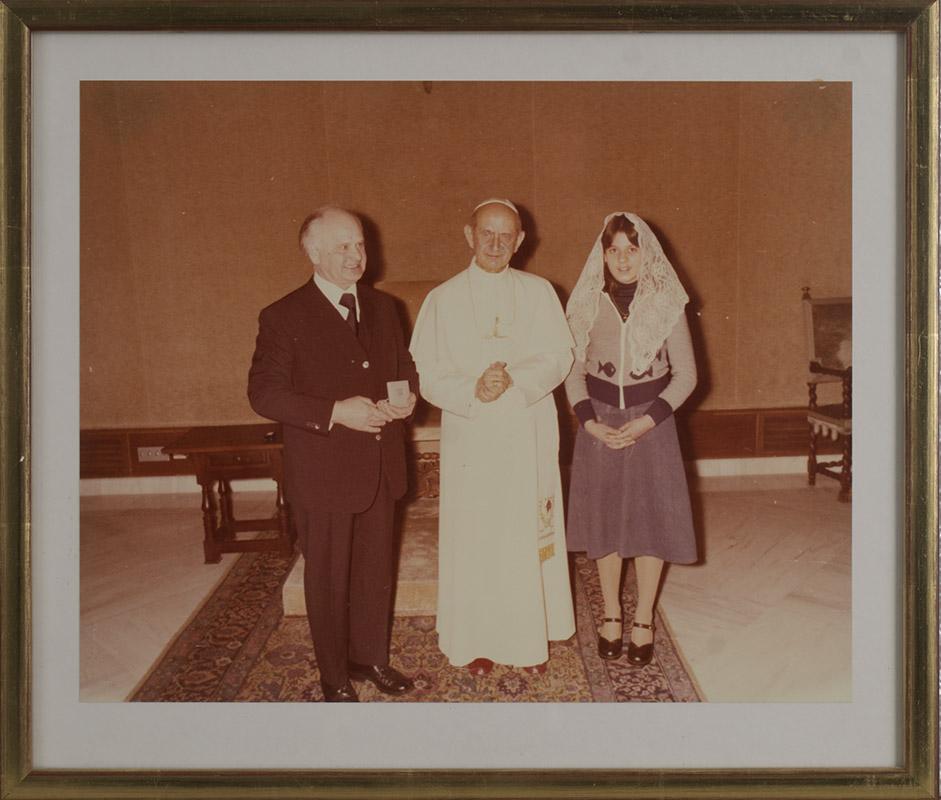 Papst Paul VI mit August und Marion Kunst