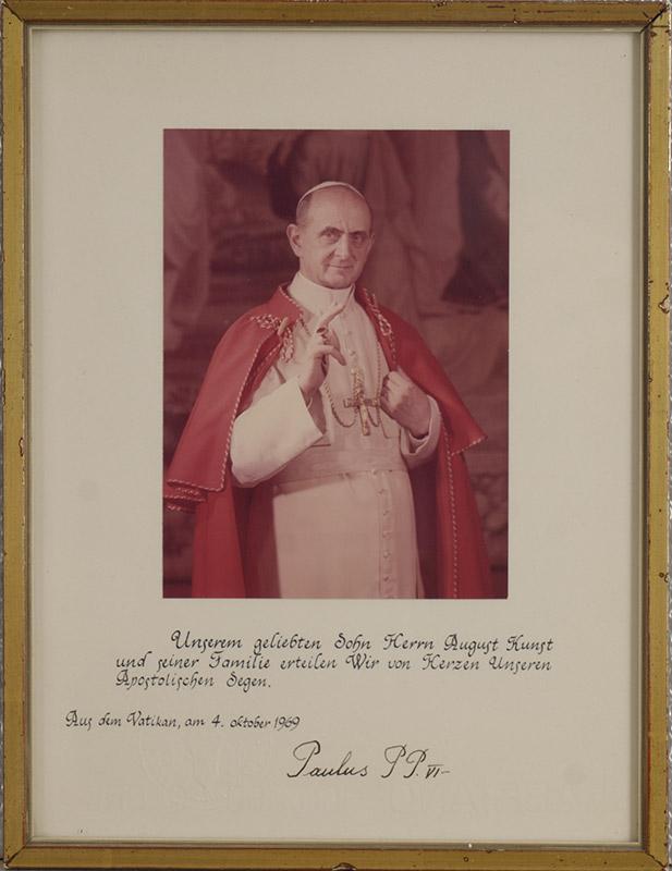 Foto von Papst Paul VI mit seinem Segen für August Kunst